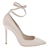 Gianvito Rossi Light Gray Suede Pump with Ankle Strap - ShopBAZAAR