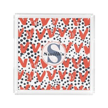 Modern Painted Hearts and Dots pattern Monogrammed Serving Tray