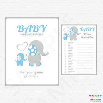Blue Elephant Baby Shower Games, Baby Word Scramble Game, Boy Baby Shower, Blue and Gray Elephant Baby Shower Game & Sign Printable ELLBG