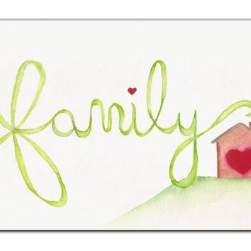 Family Watercolor Painting - House Art - Custom - Kitchen Decor  - Samiamart