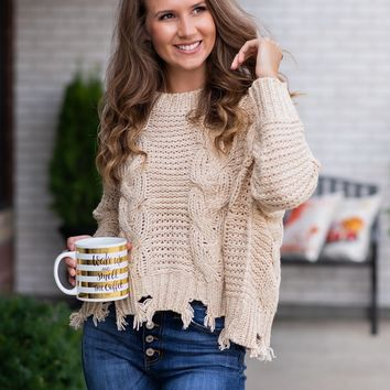 Kiss Me Softly Crew Neck Sweater : Taupe