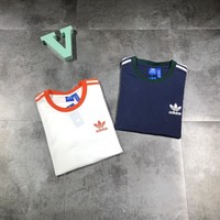 """Adidas"" Unisex Sport Casual Classic Logo Print Multicolor Stripe Short Sleeve Couple T-shirt Top Tee"