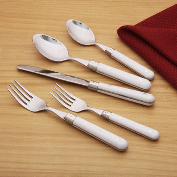 Ginkgo Le Prix 20-piece White Flatware Set | Overstock.com Shopping - The Best Deals on Flatware Sets