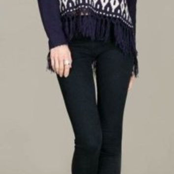 Eliza Bella for Flying Tomato Navy Sweater with Fringe Trim