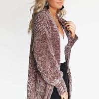 Goodnight & Go Chenille Mocha Cardigan - Amazing Lace