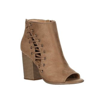 Tan Cammi Laced Peep Toe Bootie