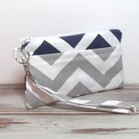 Navy Gray Wristlet, Wristlet Clutch, Clutch for Phone, Cell Phone Clutch, Phone Wallet, Chevron Wristlet, Gifts for Groups, School Wristlet