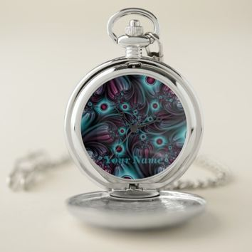 Into the Depth Blue Pink Abstract Art, Name Pocket Watch