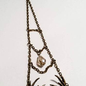 Car mirror hanger hanging car accessories redneck antler charm bronze chain rearview mirror charm crystal bead  pendant
