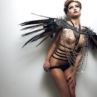 MADE TO ORDER Customize your own spiky Couture Shoulder Coque Feather Epaulets lolita futuristic lady gaga steampunk avant garde