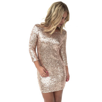 Rooftop Sequin Bodycon Dress In Rose Gold