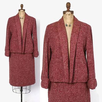 Vintage 50s Pink Tweed Suit / 1950s Pink & Brown Nubby Textured Wool Blazer Jacket and Pencil Skirt