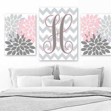 Flower Monogram Wall Art, Pink Gray Girl Nursery Decor, Monogram Pictures, Pink Gray Monogram Bedroom Wall Decor, Set of 3, Canvas or Prints