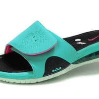 Nike Lebron Slide Sandal South Beach Preheat with Retro Filament and Green/Pink Flash - Men Size