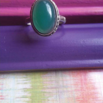 Green Onyx Ring Vintage 1950s Ladies Size 7 Estate Statement Cocktail Ring Womens