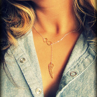 Angel Wing, Gold Lariat Necklace, Gold Angel Wing Lariat Y Chain Necklace, Infinity Symbol in Gold with Angel Wing, Remembrance Necklace
