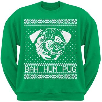 Bah Hum Pug Ugly Christmas Sweater Green Adult Crew Neck Sweatshirt