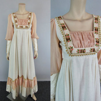 Vintage 70s GUNNE SAX Renaissance Dress Hippie Sheer Prairie Wedding Boho Maxi Dress Embroidered Floral