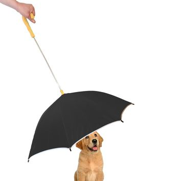 Pour-Protection Umbrella With Reflective Lining And Leash Holder - Black With Yellow Handle