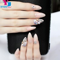 False Nails 3D Shiny Designs 24pcs Full Nail Tips Crystal Pink Fake Nails With Glue Stiletto Rhinestone Artificial Art Acrylic