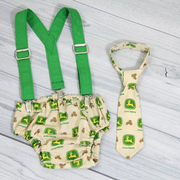 John Deere baby neck tie, diaper cover and Green Suspenders, various sizes.  Birthday Cake Smash Set.
