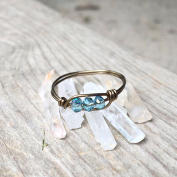 Swarovski ring, swarovski crystal ring, wire wrapped ring, wire ring, stackable ring, dainty ring, gemstone ring, wire wrapped jewelry, boho