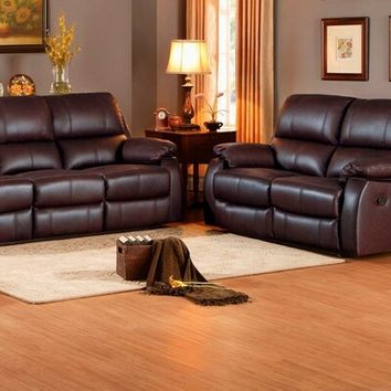 Home Elegance 8315-SL 2 pc jedidiah collection contemporary style chocolate top grain leather match motion sofa and love seat set
