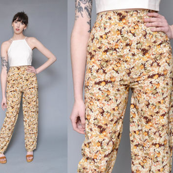 60s 70s floral printed high waist harem pants // tan brown flower power daisy printed HIPPIE boho wide leg silky tapered dress pants