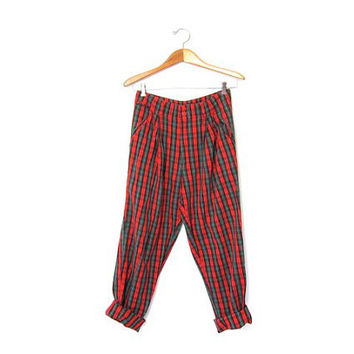 PLAID pants 90s Grunge Punk Jeans Red Green Black Hipster Womens PANTS pleated baggy harlem Pants Retro Punk Rock Steampunk Girl Fall Pants