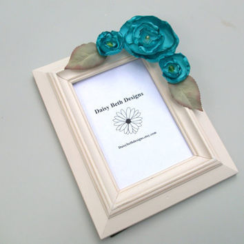 Ivory Spring Photo Frame Aqua Blue Flowers by daisybethdesigns