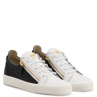 Giuseppe Zanotti Gz Frankie Black And White Calfskin Leather Low-top Sneaker