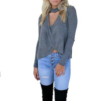 Women sexy V-neck cut out shirt loose cross design blusas plus size long sleeve shirts ladies casual brand tops