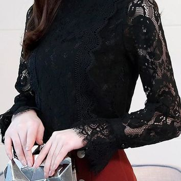Black Patchwork Lace Ruffle Long Sleeve Elegant Blouse