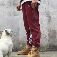 Adidas white stripe long pants Trousers Sweatpants H-YF-MLBKS