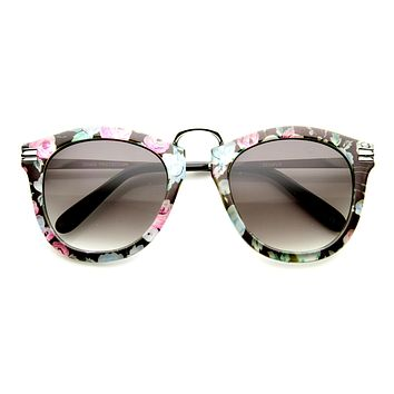 Womens Oversize Fashion Floral Print Round P3 Sunglasses 9602