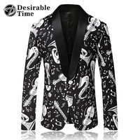 Men Black Blazer Pattern Slim Fit Shawl Collar Mens Casual Blazers Print Stage Costumes for Singers
