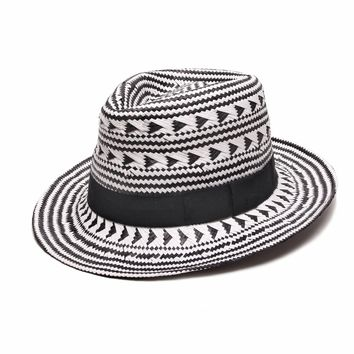 ále by Alessandra Fedora Hat | Fit to Print Black and White Panama Straw | SolEscapes.com
