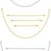 """MJartoria 12 Pieces Gold-tone and Silver-tone Stainless Steel Jewelry Extenders Set of 2"""", 3"""", 4"""" and 10"""""""
