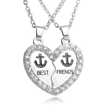 "Anchor pendant necklace ""Best Friends"" For 2 BBF crystal slipt broken heart for 2 pce friendship gift present free shipping"