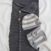 Newborn Wrap / Blanket / Cocoon AND Diaper Cover and Hat Pattern