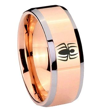 8MM Rose Gold Spiderman Bevel Edges 2 Tone Tungsten laser Engraved Ring