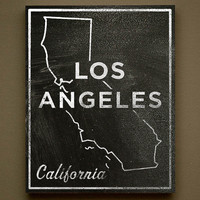 Los Angeles Chalkboard Print Wood Art