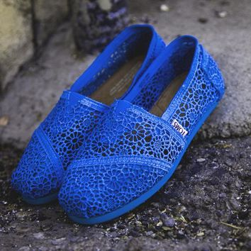 One-nice™ TOMS Natural Crochet Classics Flats Fashion hollow Summer Sexy Loose Shoes Sapphire blue
