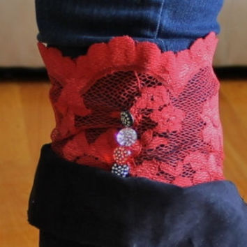 "Ladies, juniors stretch purple lace boot cuffs,size medium, stretch to 16"", 5"" tall, other sizes and colors available"