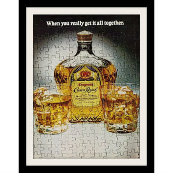"1978 Crown Royal Canadian Whisky Ad ""Jigsaw Puzzle"" Vintage Advertisement Print"
