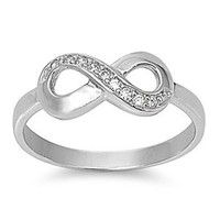 Sterling Silver Infinity Ring with Cubic Zirconia - Available Size 5, 6, 7, 8, 9, 10 (7)