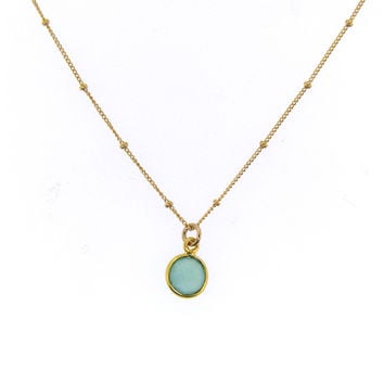 Circle Bezeled Chalcedony Necklace on Satellite Chain