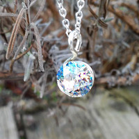 Crystal Pendant Swarovski Chaton, Swarovski pendant necklace, Pastel pendant, Simple pendant, thin chain necklace, wire wrapped pendant