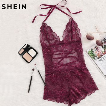 SHEIN Burgundy Deep V Neck Sleeveless Pajama Bottoms Tie Up Back Halter Neck Lace Sleep Romper Sexy Autumn Pajamas