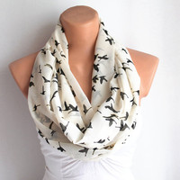 Infinity Scarf Loop Scarf Circle Scarf Cowl Scarf Soft and Lightweight Black Birds Chiffon